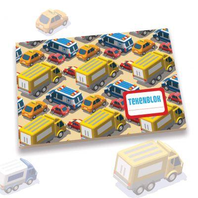 Tekenblokje A5 auto's en vrachtwagens, voor jongen