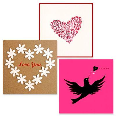 set  van 3 wenskaarten love, liefde