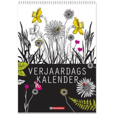 Verjaardagskalender A4 in zwart/wit, bloemen illustraties