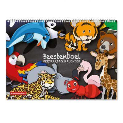 Verjaardagskalender voor kind, met veel dieren