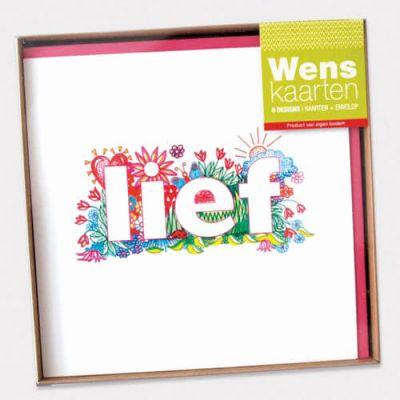 voordelige doosje kaarten met kleurrijke illustraties; bedankt, lief, gefeliciteerd ..