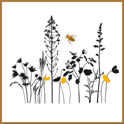 Wenskaart met bloemen en bij