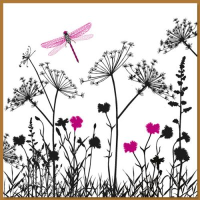 Wenskaart met wilde bloemen en libelle