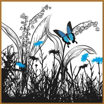 Wenskaart met wilde bloemen en vlinder