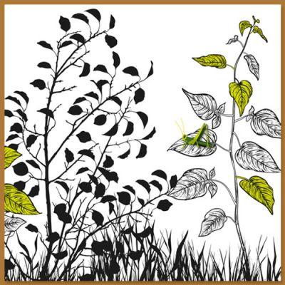 wenskaart met sprinkhaan op blad