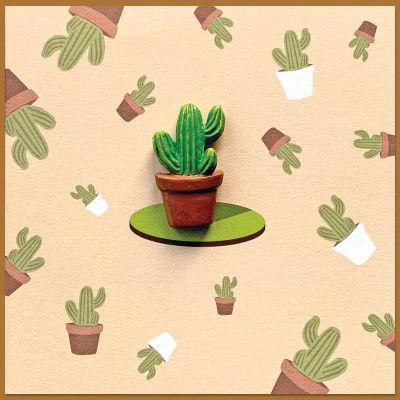 Bijzondere wenskaart met opgeplakte Cactus, inclusief envelop
