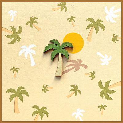 wenskaart met houten palmboompje en met envelop