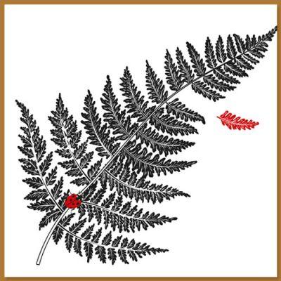 Wenskaart met varenblad en lieveheersbeestje