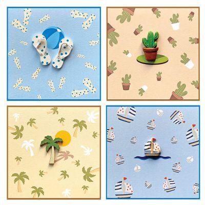 Wenskaarten zomer; cactus, slippers, zeiboot en palmboom