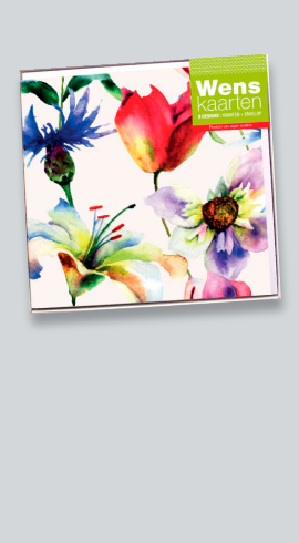 Voordeelverpakking van 8 wenskaarten Fiori met bloemaquarellen