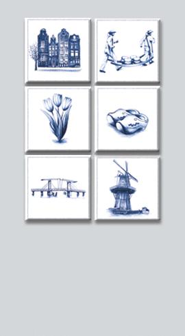 Set van 6 unieke koelkastmagneetjes in Deflstblauwe stijl